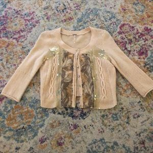 Free People Wool Blend Sequin Cardigan. X-Small.
